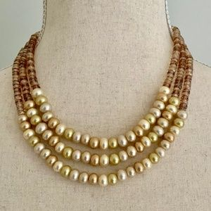 Carolee Pearl Glass Beaded Multi Strand Necklace